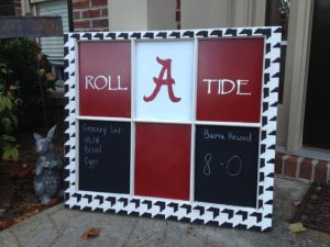 You can even use it to write things down like a shopping list or Alabama's football record. This person uses chalk.