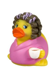 Like how she has the curlers in her hair and her robe. Wait a minute, ducks don't have hair.