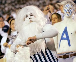 I think he was wearing this during a white out PSU game. But the wizard beard and body paint is just the same.