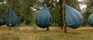 Yes, this resembles an abnormally large windowed punching bag. But I assure you, it's a tent.