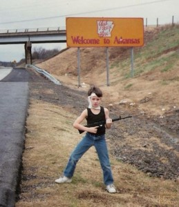 Let's hope this kid isn't holding a real assault rifle. Because this photo is incredibly disturbing. Really.