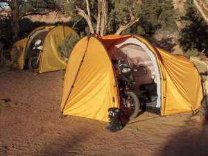 Yes, this is an ideal biker tent indeed since it provides a place to store a motorcycle. Still, seems to make motorcycle gangs seem less badass for some reason.