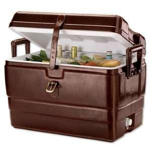 Yes, it's a cooler that takes the appearance of a mahogany trunk. Why anyone would want that, I have no idea.