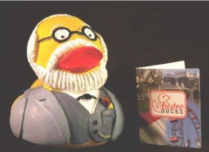 Well, this is a rubber duck of Sigmund Freud, complete with his white beard and everything. Of course, some people thought his ideas were a little quacky.