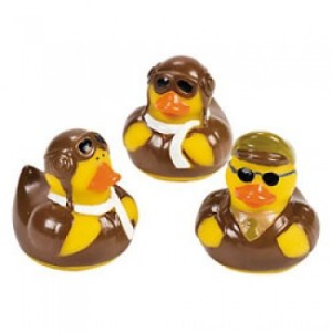 Of course, ducks can fly to the skies without a plane. But you can't resist these little guys in full pilot gear.