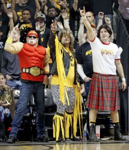 I hope my sister likes these guys since they're from her school in Richmond. One of them is even dressed like Hulk Hogan and another guy is wearing a kilt.