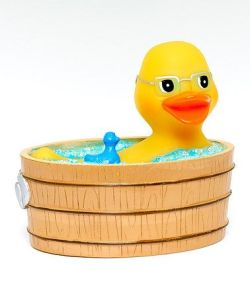 Yes, rubber ducks are bath toys. And this one has their own rubber duck, too. Kind of freaky, isn't it?