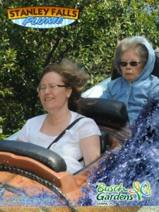 Since this photo was taken on a water ride, I wouldn't blame her. But that look her face says it all.