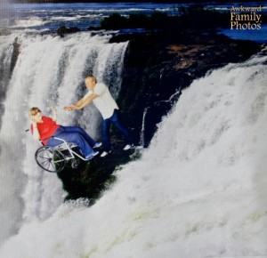 Pushing your granny off of Niagra Falls. It's the kind of touching family photo only the likes of Alfred Hitchcock would dream of making into a movie.