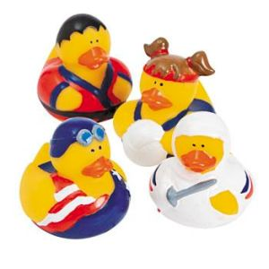 Represented are judo, swimming, volleyball, and fencing. Why there's no gymnastic rubber duckie, I have no idea.