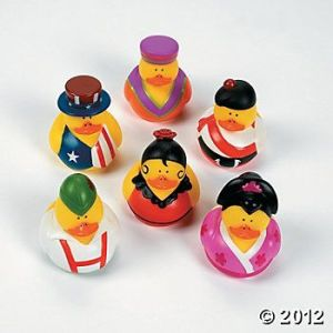 These ducks represent the US, Japan, Germany, Spain, Africa, and Scotland. And yes, each one is yellow and adorable.