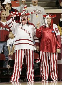 Yes, I know they look like a couple of clowns in pajamas. But I've seen fans in more ridiculous outfits than that. You'll probably find this amusing though.