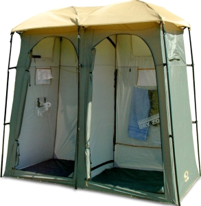 Yes, these tents exist. But you can use one for going to the bathroom and one for taking a shower in. If you have the right equipment.