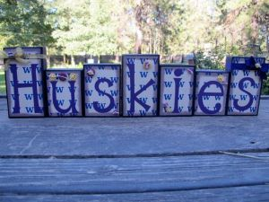 "Sure each may have a decoration. But ""Huskies"" is in purple in order to really stand out. Adorable."