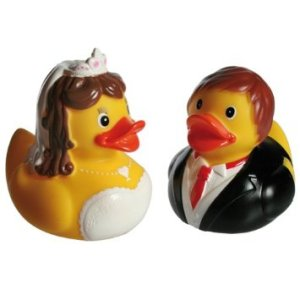 By the way, there are rubber ducks like these that are used as wedding cake toppers. Just so you know.