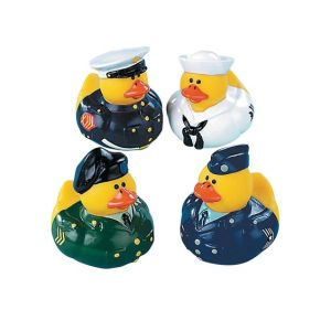 Each duck is wearing their branch's dress uniform. Their head servicemen in each of their organizations form the Joint Chiefs of Quack.