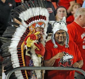 Just for the record, I don't condone the Seminole wearing the war bonnet and fully understand that it's highly offensive to Native Americans. However, since this is a college fan post, his ridiculous war bonnet attire is so over the top that I just couldn't resist leaving it out.