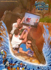 I don't know about you. But I think when you're on vacation, best leave the video games at home. And definitely not play them on Splash Mountain.