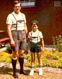 I have no idea why lederhozen exists. But this is certainly a picture this boy will certainly not want his classmates to see.