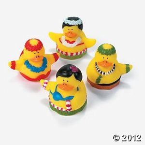 And it seems that Hawaiian ducks don hula skirts, coconut bras, and leis, too. Not really.