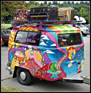 Yes, this is one of those hippie colored campers. I know it looks quite tacky. But you have to admire the artwork.