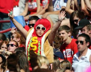 Not sure why anyone would dress as a hotdog to support their college team. But this person seems to have a great costume nonetheless.