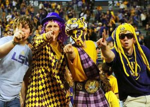 LSU fans tend to be a little crazier college sports fans than some of the other schools for some reason. But I like the purple kilt in this.