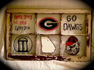 Yes, it's an old window that's decorated with Georgia Bulldog stuff. A must for any diehard fan.