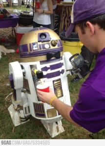 To be fair, this R2-D2 was painted with LSU colors. Yet, it's pretty ridiculous just the same, especially if it's near younger college students.
