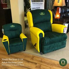 Comes in Oregon Duck colors which might clash with some of the living room furniture. Then again, why does sport team furniture even exist?