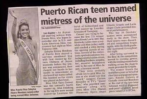 To be fair, this girl won a beauty pageant. But whoever came up with this headline has a very poor choice in vocabulary.