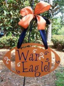 "Not sure about the deal with ""War Eagle!"" is since their mascot is the Tiger. But I do love the ribbons and font on this."