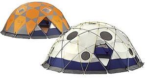 Yes, these are dome tents. And yes, I have no idea how they're set up. But they do look quite cool.