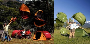 This is a pop up tent and the pictures show you how to set one up. Seems easy until you have to peg it down.