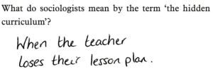 Well, that's one way of answering the question. But not exactly what the teacher was looking for.