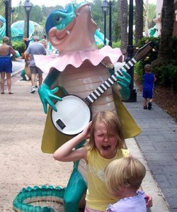 Even funnier, that gator is nowhere near intimidating. But the kids are crying anyway.