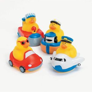 These are transportation rubber duckies. Each one is in its own mode like a plane, train, boat, and car.