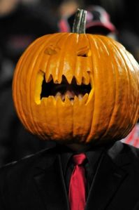 Probably something this guy does for Halloween. Wouldn't want to sit behind him in the stands though.
