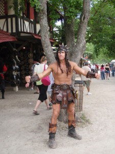 You'd almost think this guy was Conan the Barbarian. Yet, at least he's sporting a six pack.