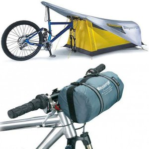 It's quite small but it can be pitched on the bike in no time. Not sure if I'd like that.