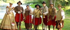Note that their guns are flintlock muskets which are single shot, take long to reload, and aren't very great in speed and accuracy. On the other hand, they guys are wearing nice pants.