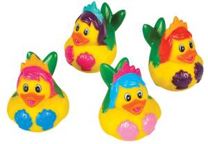 Each one has a fish tail, bright hair, and a seashell bra. But you'd certainly fall for these at bath time.