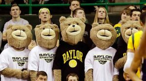 Helps that Baylor's mascot is a bear. Still, the faces are cuddly but it's hard to find a guy in an animal costume adorable. But this isn't bad.