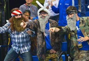 Okay, these are people dressed up like characters from Duck Dynasty. Like the one in the balloon hat the best.