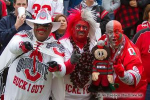 Love how all are in their Buckeye regalia for the game. One of them even has a buckeye necklace. Love it.