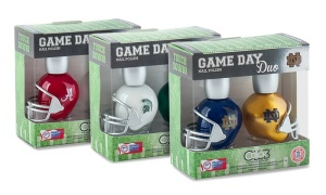 Pictured here are Alabama, Michigan State, and Notre Dame. And did I tell you they come in football helmet bottles?