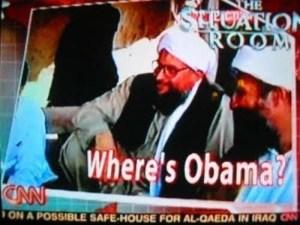 "I think it's supposed to be: ""Where Is Osama?"" Wolf Blizter might need a caption proof reader sometime soon."