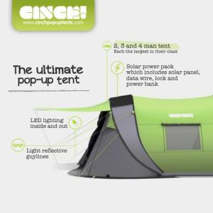 Comes with a solar power pack and LED lighting. Fits 2-4 people.