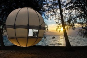 Yeah, I know it's of a sphere and it's hung from trees. But it's a tent so it goes on the post.