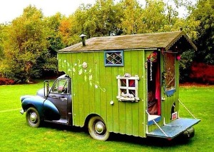 It's a camper that's supposed to resemble a gypsy caravan. Still, not a fan of the color.